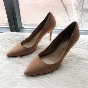 🌟 ALDO Beige Suede Pointed Toe Kitten Heel Size 6